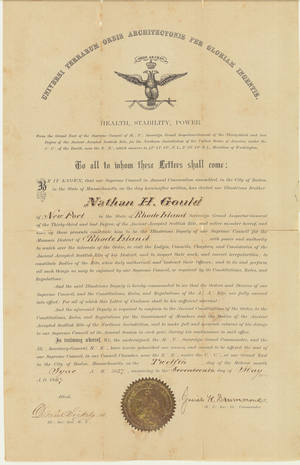 Certificate appointing Nathan H. Gould as Deputy for the State of Rhode Island for the Supreme Council, Northern Masonic Jurisdiction
