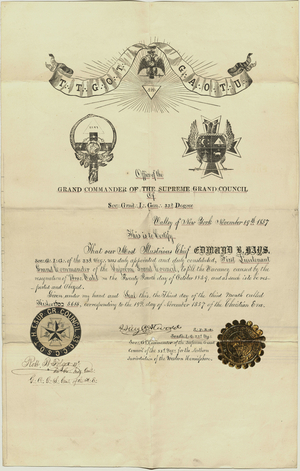 Appointment of Edmund B. Hays as First Lieutenant Grand Commander in the Atwood Council