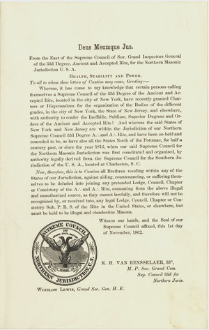 Circular Warning against the Hays (Cerneau) Supreme Council in New York City