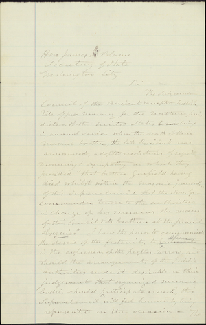 Draft of a letter to Secretary of State James Blaine regarding death of President Garfield