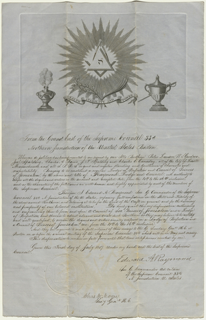 Dispensation for Raymond Lodge of Perfection and Raymond Council, Princes of Jerusalem