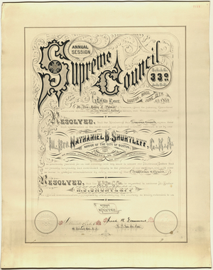 Certificate of appreciation issued to Nathaniel B. Shurtleff, Mayor of Boston