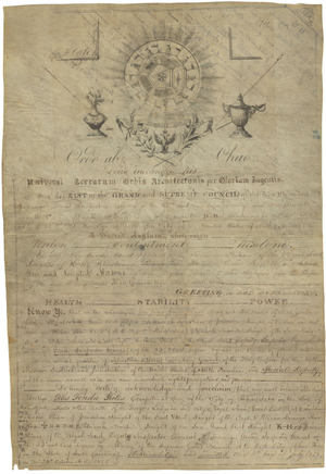 Certificate of Appointment to the Supreme Council, Northern Masonic Jurisdiction, for Giles Fonda Yates, 33°.