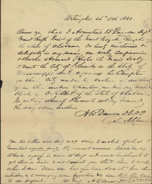 Letter from Armistead B. Dawson to Armand P. Pfister, 1840 October 26