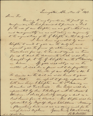 Letter from Robert H. Dalton to Armand P. Pfister, 1843 November 18