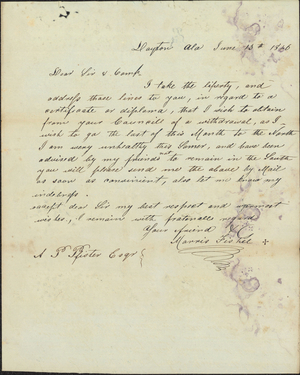 Letter from Morris Fishel to Armand P. Pfister, 1846 June 13