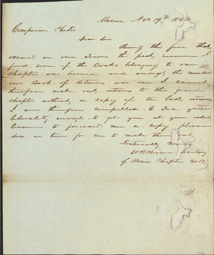 Letter from W. R. Brown to Armand P. Pfister, 1846 November 19