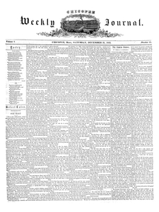 Chicopee Weekly Journal, December 31, 1853