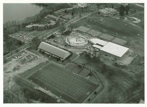 Aerial View of Campus During Construction of Physical Education Complex