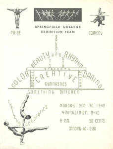 Springfield College Men's Gymnastics Team Flyer from Youngstown, OH in 1940