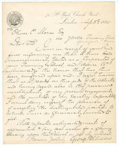 Sir George Williams Letter, 1890
