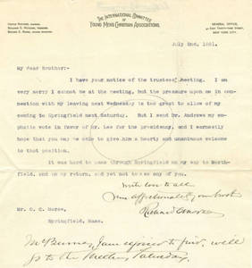 Letter from Richard Morse to brother, Oliver Morse, July 2, 1891