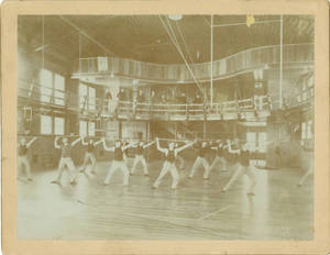 Barnjum Bar Bell Drill in East Gymnasium, c. 1895