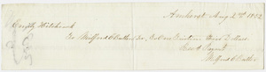 Edward Hitchcock receipt of payment to Milford Clark Butler, 1852 August 2