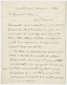 Benjamin Silliman letter to William Augustus Stearns, 1864 March 1