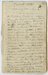 "Edward Hitchcock diary, ""Private Notes,"" 1829 February 8 to 1843 December"