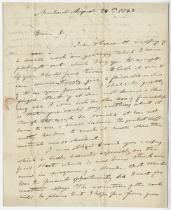 Edward Hitchcock letter to Benjamin Silliman, 1840 August 20