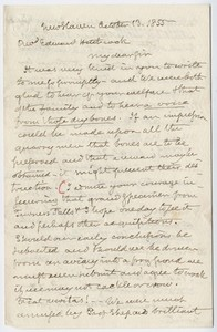 Benjamin Silliman letter to Edward Hitchcock, 1855 October 13