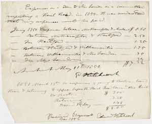 Edward Hitchcock receipt for travel expenses to New London 1850 May 11