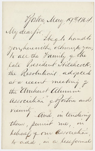 Amherst College Boston Alumni Association letter to Edward Hitchcock, Jr., 1864 May 19