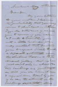 Edward Hitchcock letter to Edward Hitchcock, Jr., 1855 May 17
