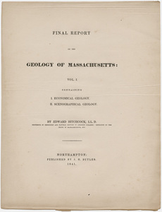 "Edward Hitchcock title page, ""Final Report on the Geology of Massachusetts: Vol. I,"" 1841"