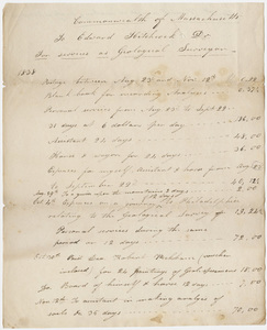 Edward Hitchcock geological survey expense account, 1838 August 23 to 1838 November 12