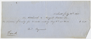 Edward Hitchcock receipt of payment to Mary D. Adams, 1851 July 28