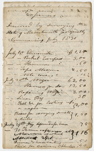 Edward Hitchcock geological survey account book, 1830 July to 1830 December