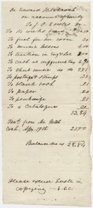 Edward Hitchcock receipt of payment to John Phelps Cowles, 1854