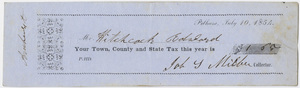Edward Hitchcock receipt of payment to the town of Pelham, 1854