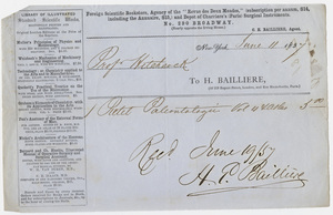 Edward Hitchcock receipt of payment to Hippolyte Bailliere, 1857 June 11