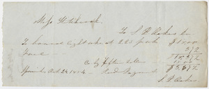 Edward Hitchcock receipt of payment to S. P. Oakes, 1854 October 24