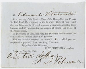 Edward Dickinson note to Edward Hitchcock, 1848 November 20