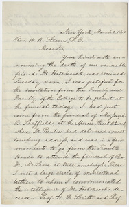 Ornan Eastman letter to William Augustus Stearns, 1864 March 2