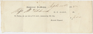 Edward Hitchcock receipt of payment to Nahum Gale, 1838 September 10