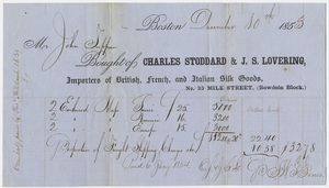 Edward Hitchcock and John Tappan receipt of payment to Charles Stoddard and Joseph Samuel Lovering, 1853 December 10