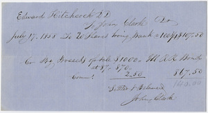 Edward Hitchcock receipt of payment to John Clarke, 1858 July 14