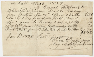 Edward Hitchcock receipt of payment to Oliver Dickinson, 1838 January 3