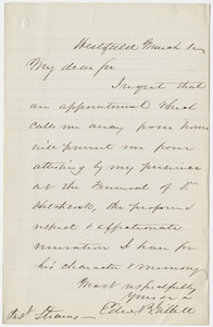 Edward Bates Gillett letter to William Augustus Stearns, 1864 March 1