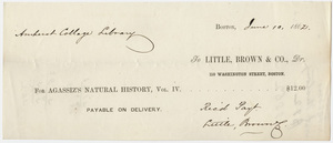 Edward Hitchcock receipt of payment to Little, Brown and Company, 1862 June 10