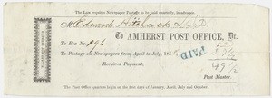 Edward Hitchcock receipt for the Amherst Post Office, 1858