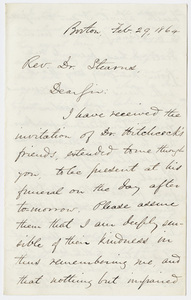 Jacob Merrill Manning letter to William Augustus Stearns, 1864 February 29
