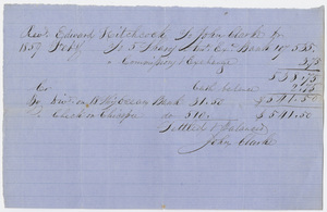 Edward Hitchcock receipt of payment to John Clarke, 1859 February