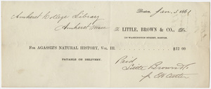 Edward Hitchcock receipt of payment to Little, Brown and Company, 1861 January 3