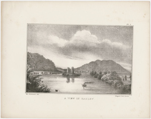 "Orra White Hitchcock plate, ""A view in Hadley,"" 1841"