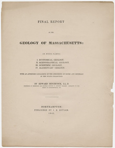 "Edward Hitchcock title page, ""Final Report on the Geology of Massachusetts,"" 1841"