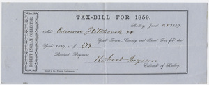 Edward Hitchcock receipt of payment to the town of Hadley, 1859