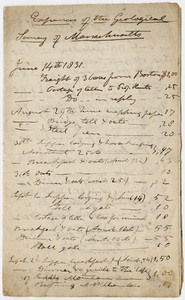 Edward Hitchcock geological survey account book, 1831 June 14 to 1832 May 8