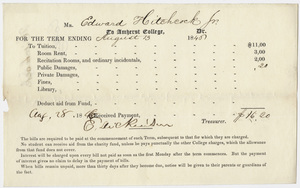 Edward Hitchcock receipt of payment to Amherst College, 1846 August 28